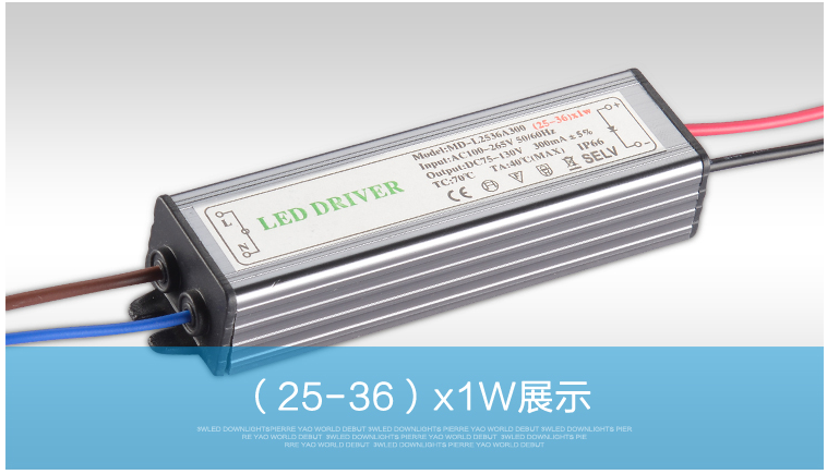 ( 18-25 ) X 1W 36W IP66 Waterproof LED Driver Power Supply Constant Current AC100 - 265V to DC 75V -130V 240mA -300mA for LED waterproof 350ma 1w power constant current source led driver 85 265v