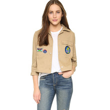 2016 New Women's basic coats Autumn POLO collar jacket Embroidery patterns chaquetas mujer Street Fashion youth students coat