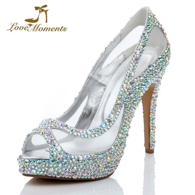 Summer Peep Toe Female Pumps Dazzling Rhinestone Wedding Shoes Bride  Fashion Mesh High Heel Shoes Platform 4