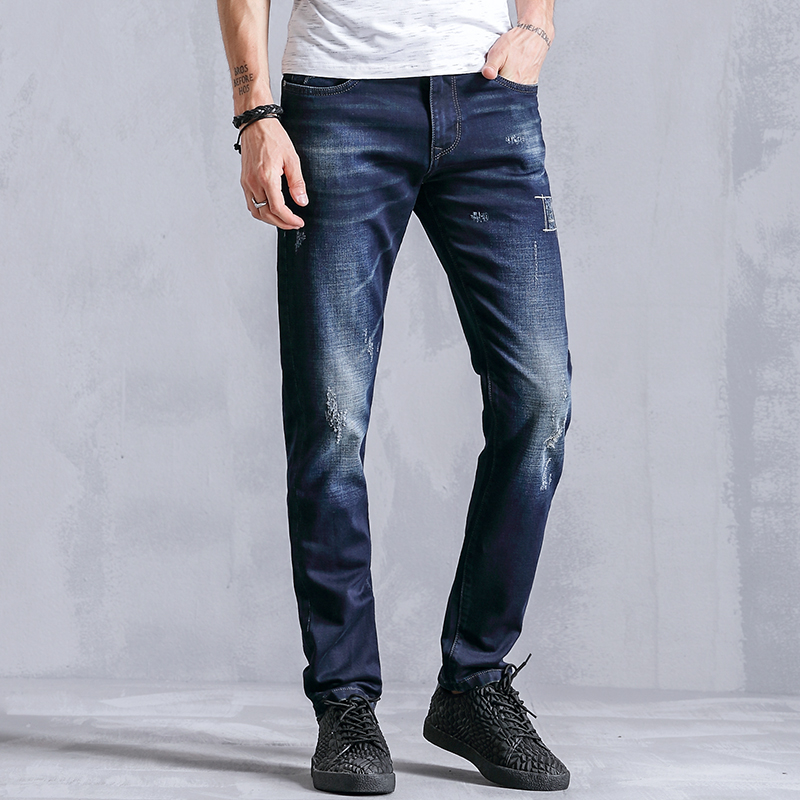 Fashion Straight Casual Jeans Men Clothes 99% Cotton Slim Fit Skinny Male Denim Trousers For Mens Elastic Clothing K8015