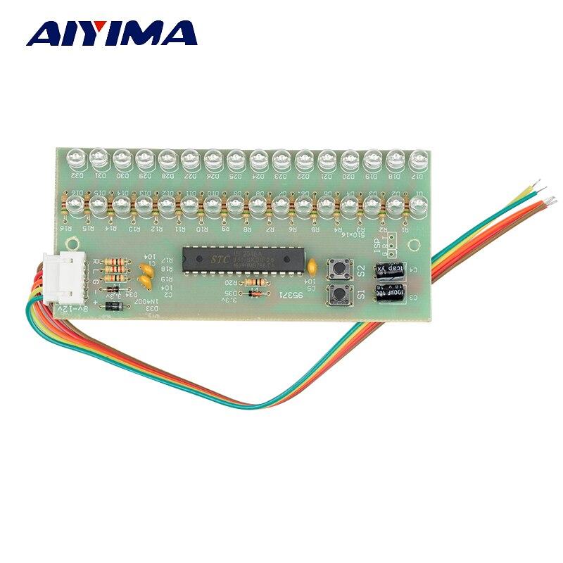 Aiyima MCU Ρυθμιζόμενο μοτίβο οθόνης LED Ενισχυτής ένδειξης στάθμης μετρητή VU Ήχος 16 LED διπλής καναλιού Πράσινο χρώμα