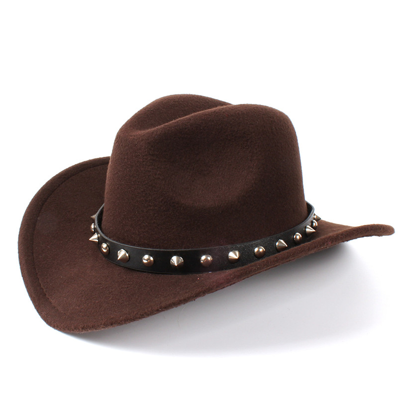 ed2a8584f US $8.5 20% OFF|Women's Wool Felt Western Cowboy Hat With Roll up Wide Brim  Gentleman Lady Jazz Cowgirl Punk Rivet Belt Sombrero Caps C18-in Women's ...