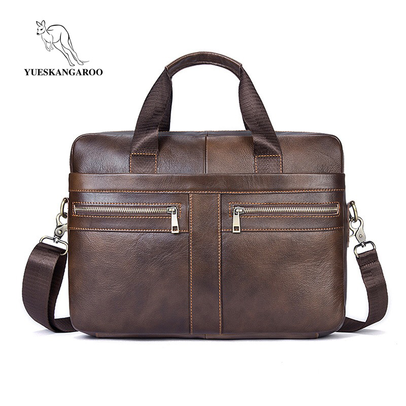 YUESKANGAROO Men Briefcase Laptop Bag Male Genuine Leather Bag Men Handbags Multifunction Men's Travel Shoulder Bag 2019