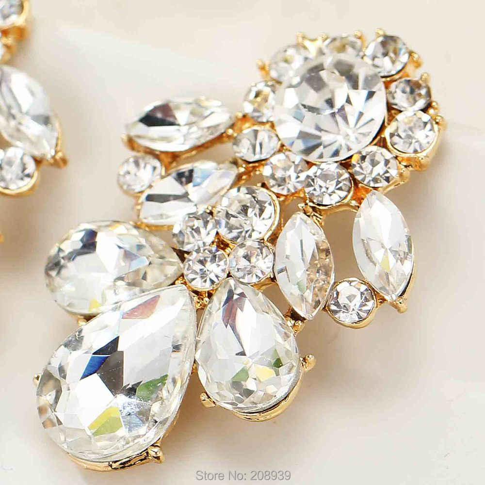 Wanita baru fashion anting logam dengan permata kaca putih manis pejantan anting kristal untuk anak perempuan perempuan e467