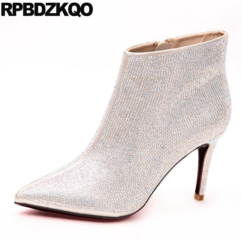 Sexy Gold Stiletto High Heel 2017 Booties Autumn Pointed Toe Wedding Ankle Side Zip Boots Short Bling Rhinestone Shoes New trendy buckle style cut out thin heel sandal booties sexy pointy stiletto heel ankle boots elegant women burgundy suede booties