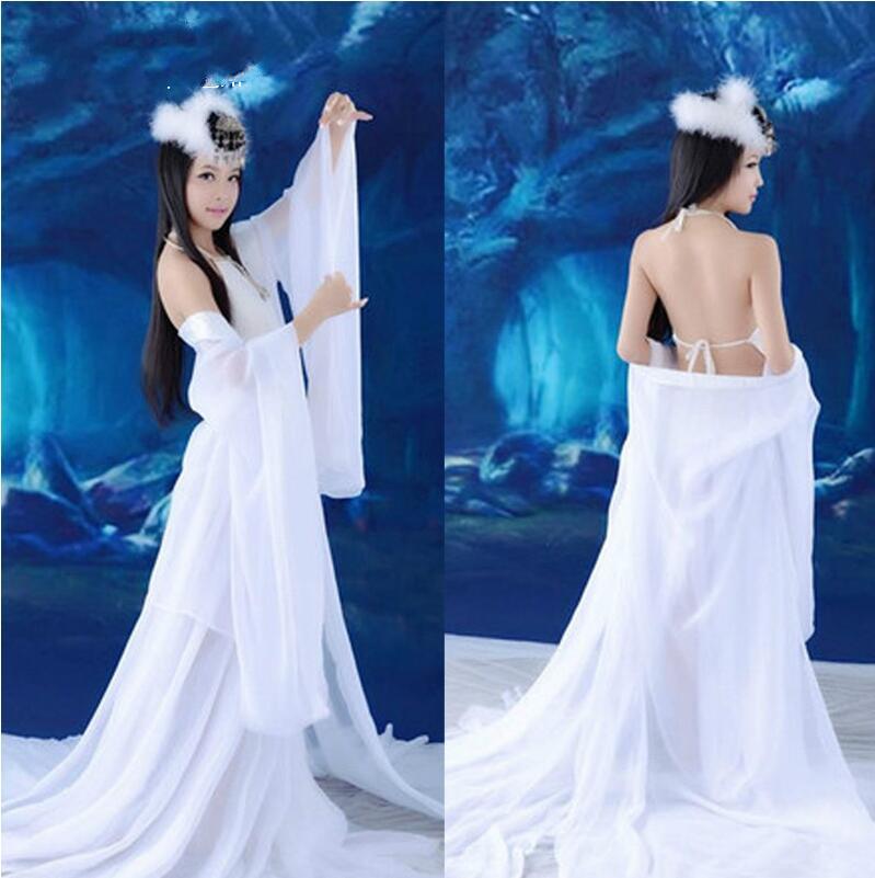 Sexy Dance Dress White kostīmi Tang Hanfu ķīniešu seno apģērbu pasaku kostīms Krāšņs princeses kostīms ķīniešu tautas dejas