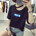 Women Tee Shirt Summer Fashion Letter Printed Solid Cotton Short Sleeve T Shirt Hollow Out Loose Casual Shirt Top 2017 New