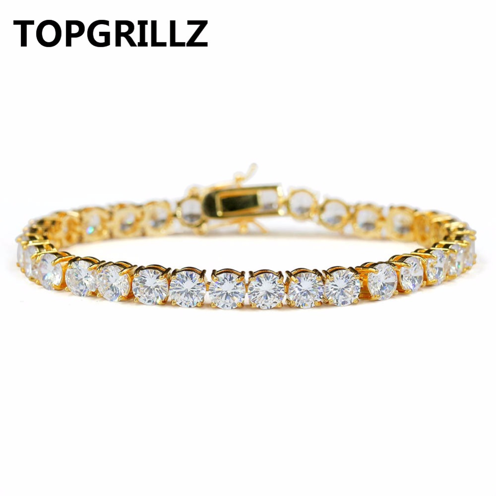 TOPGRILLZ 2mm-6mm AAA Iced Out Cubic Zirkon Tennis Kette 1 Reihe Armband Gold Silve Farbe HipHop männer Schmuck Armband