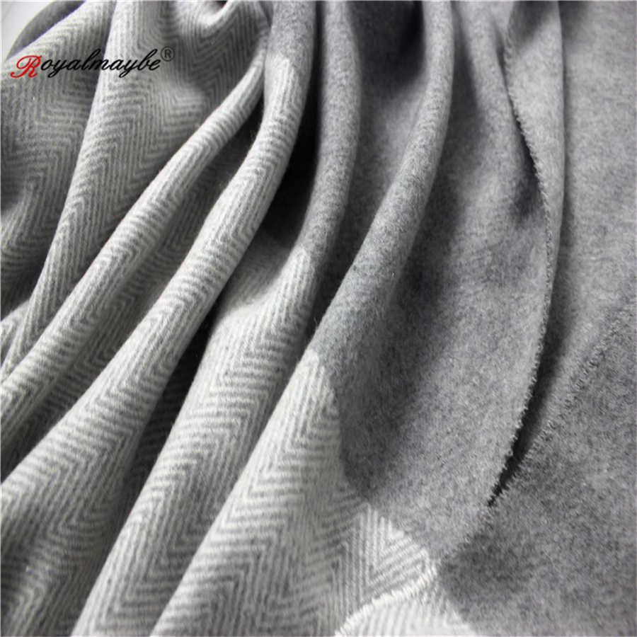 Шарф женский зимний теплый кашемировый шафры-платки с кисточками шарф для женщин однотонный шерстяной обертывание 2018 для дам черный пашмины утолщенный
