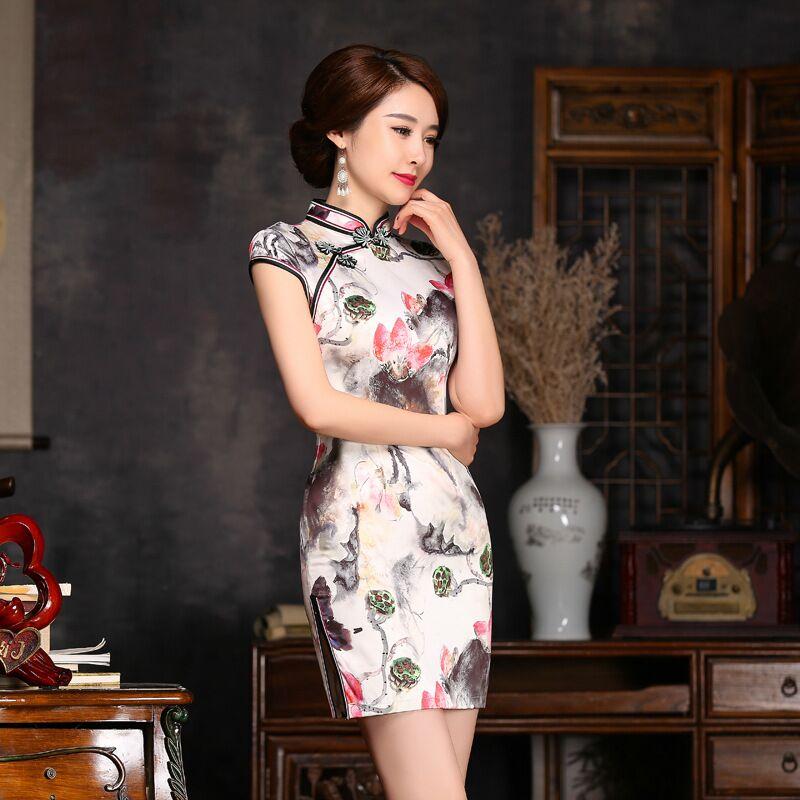 Elegant Slim Women's Satin Mini Cheongsam Hot Sale New Lady Qipao Fashion China Style Dress Size S M L XL XXL 245999