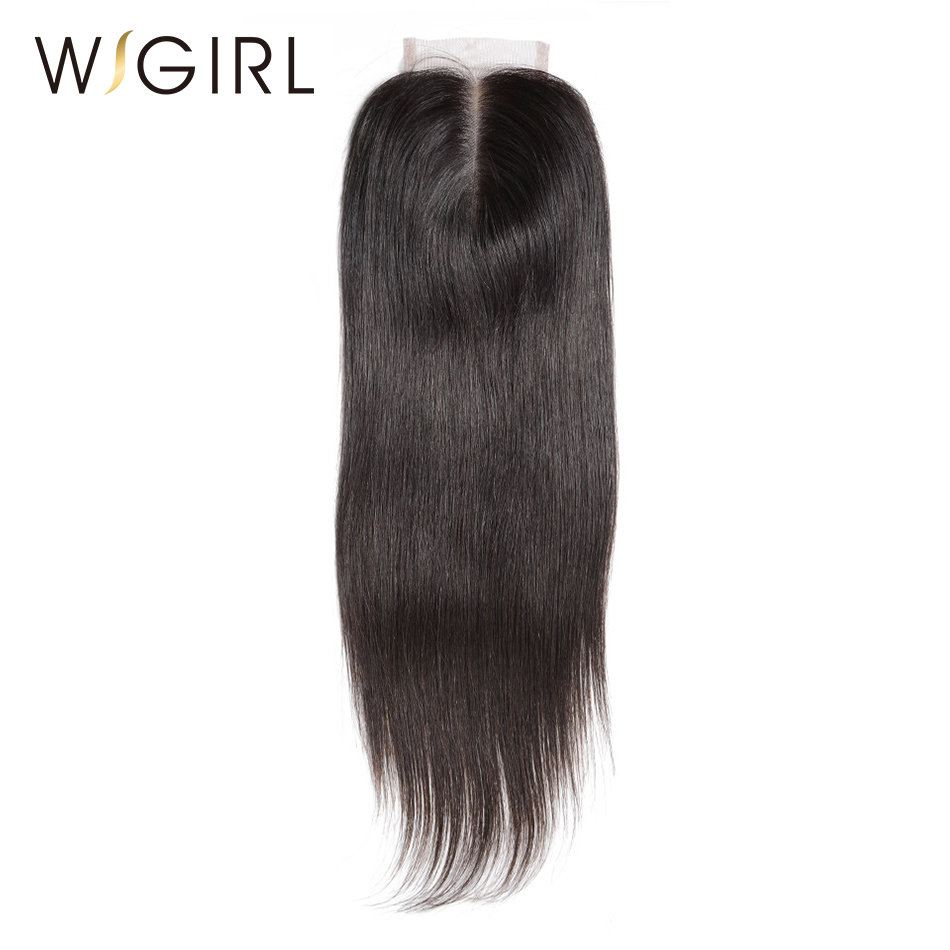 Wigirl Hair Lace Closure Brazilian Straight Human Remy Hair Natural Color 4x4 Middle Part with baby