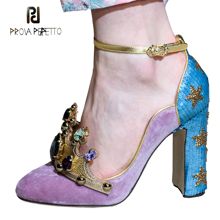 Prova Perfetto luxury rhinestone crown high heel mary jane shoes women bling bling sequins patchwork ankle strap lady party pump