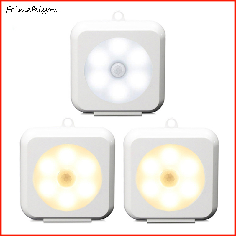LED Motion Sensor Night Light Indoor Night Light Motion Sensor Lamp For Hallway Bathroom Bedroom Stairs Corridor Battery Power