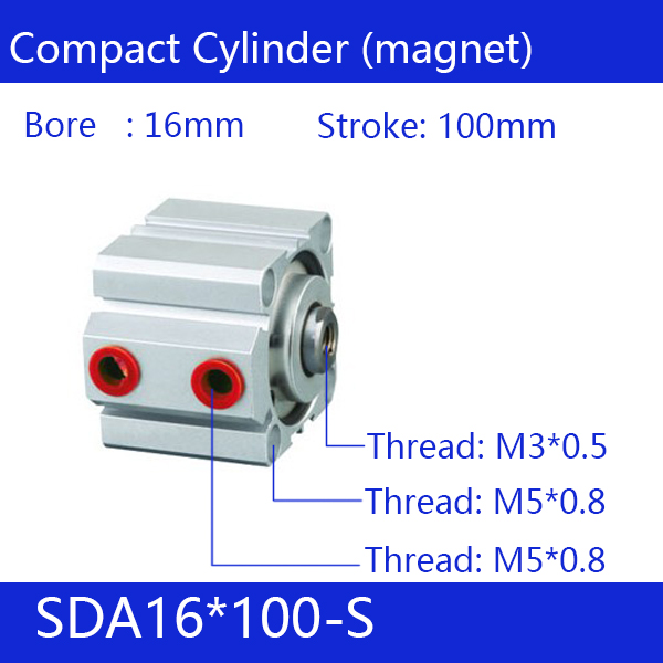 SDA16*100-S Free shipping 16mm Bore 100mm Stroke Compact Air Cylinders SDA16X100-S Dual Action Air Pneumatic Cylinder, magnet sda16 70 s free shipping 16mm bore 70mm stroke compact air cylinders sda16x70 s dual action air pneumatic cylinder magnet
