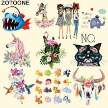 ZOTOONE Iron On Transfer Unicorn Flamingo Fish Flower Animal Patch Heat Press Patches for Clothes T-shirt Stickes DIY Appliqued(China)