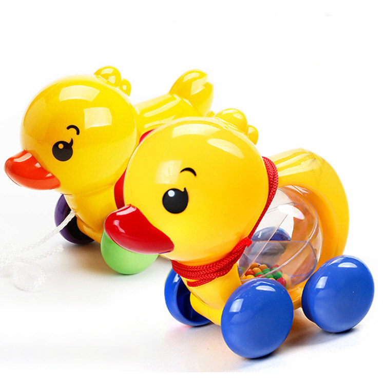 Baby Rattles Pull Rope Yellow Duck Hand Jingle Shaking Bell Car Rattles Toys Music Handbell For Kids Birthday Gifts