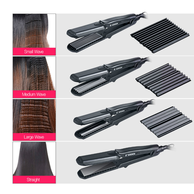 Interchangeable 4 in 1 Hair Straightener Corn curling Wide Wave Plate Electric Hair Crimper Large Small Corrugated Flat Iron S42 belt