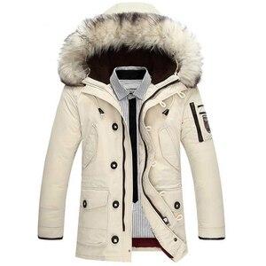 Image 2 - Nova marca jaqueta de inverno dos homens 90% pato branco para baixo jaqueta grossa manter quente jaqueta de pele gola com capuz para baixo jaquetas casaco masculino