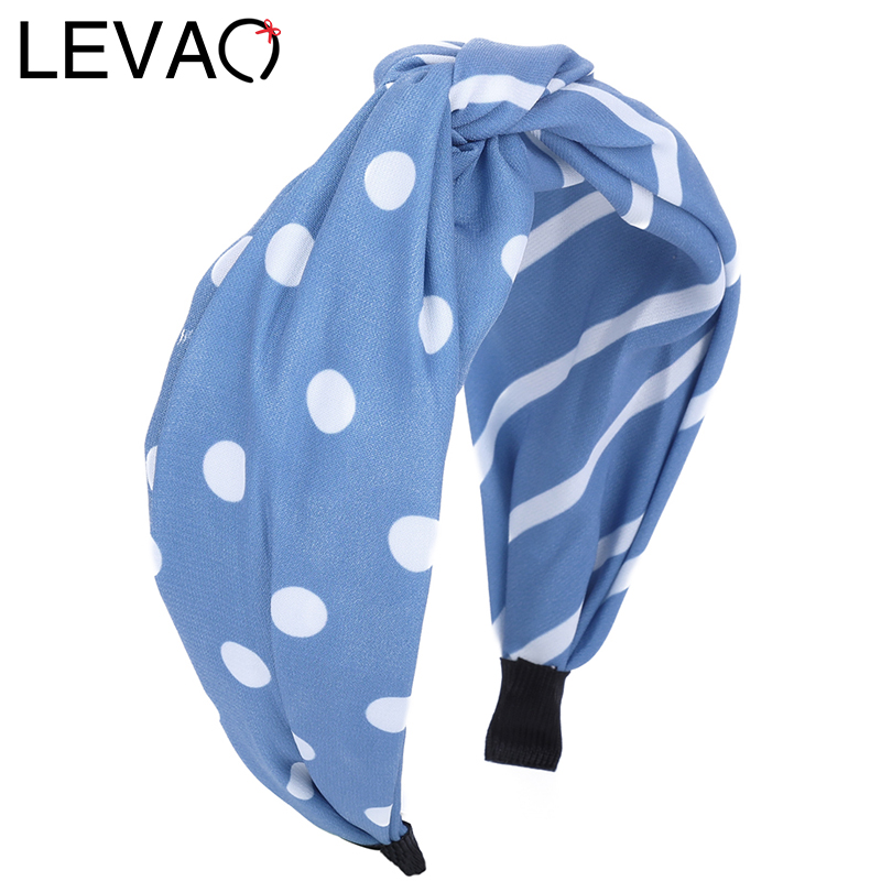 LEVAO Fashion Striped Dot Twisted Knotted Cross Hairbands Bezel Turban Hair Accessories Wide Size Headbands Hair Hoop   Headwear