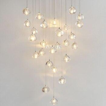 Moderno led lustre de cristal iluminação grande restaurante do hotel escada lustres luzes penduradas sala estar lâmpadas cristal