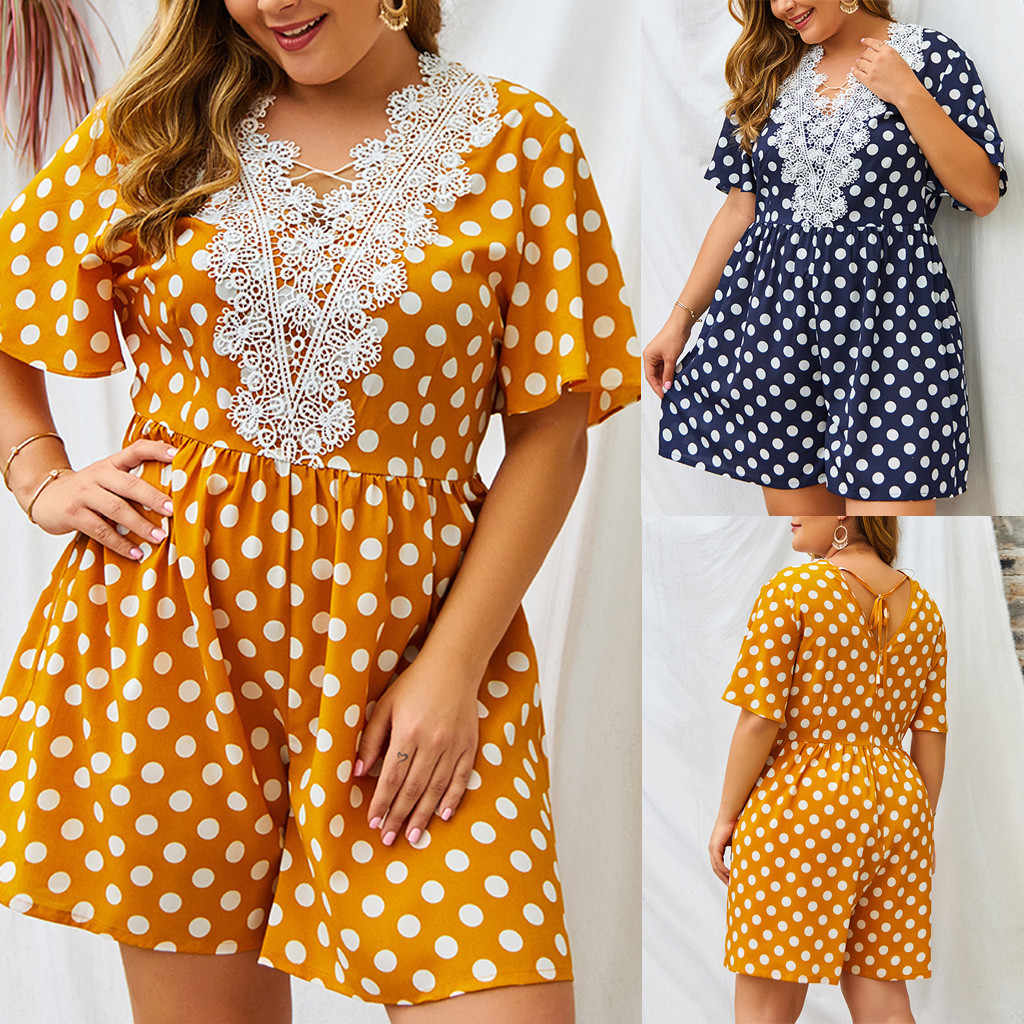 Plus Size Womens Bohe Dot Print Lace Short Sleeve V-Neck Ladies high quality Jumpsuit women rompers and jumpsuites 2019 july 25