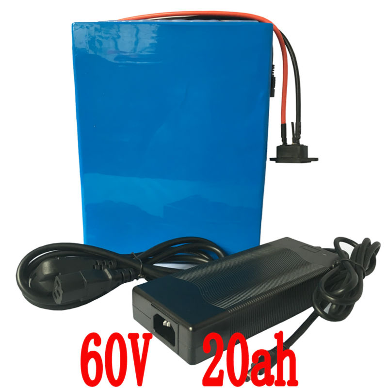 Free Shipping Lithium Rechargeable Battery 60V 20Ah 2000w Electric Bike Battery With  50A BMS  and 67.5V 5A Charger free customs taxes and shipping 60 volt 3000w rechargeable 60v 25ah lithium ion battery pack with bms and charger