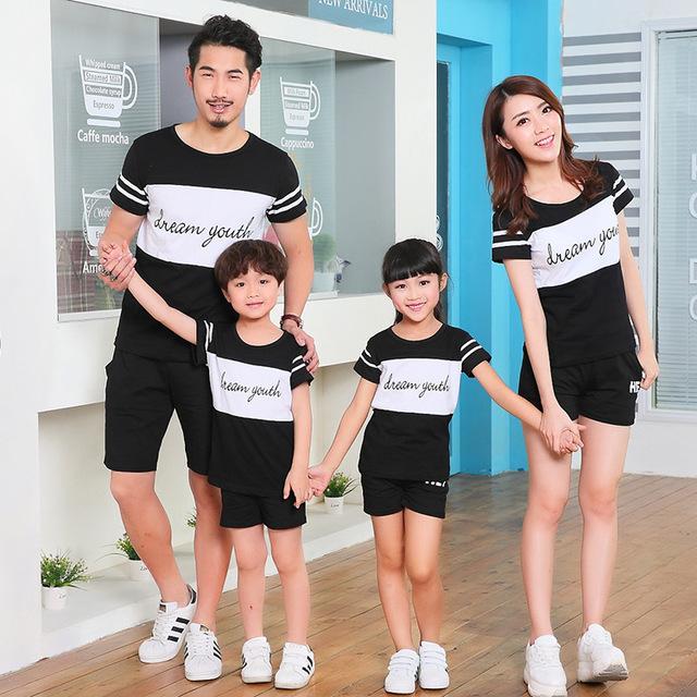 2017 summer family clothing sets boy girl clothing niños ropa madre e hija padre e hijo de ocio trajes a juego de la familia