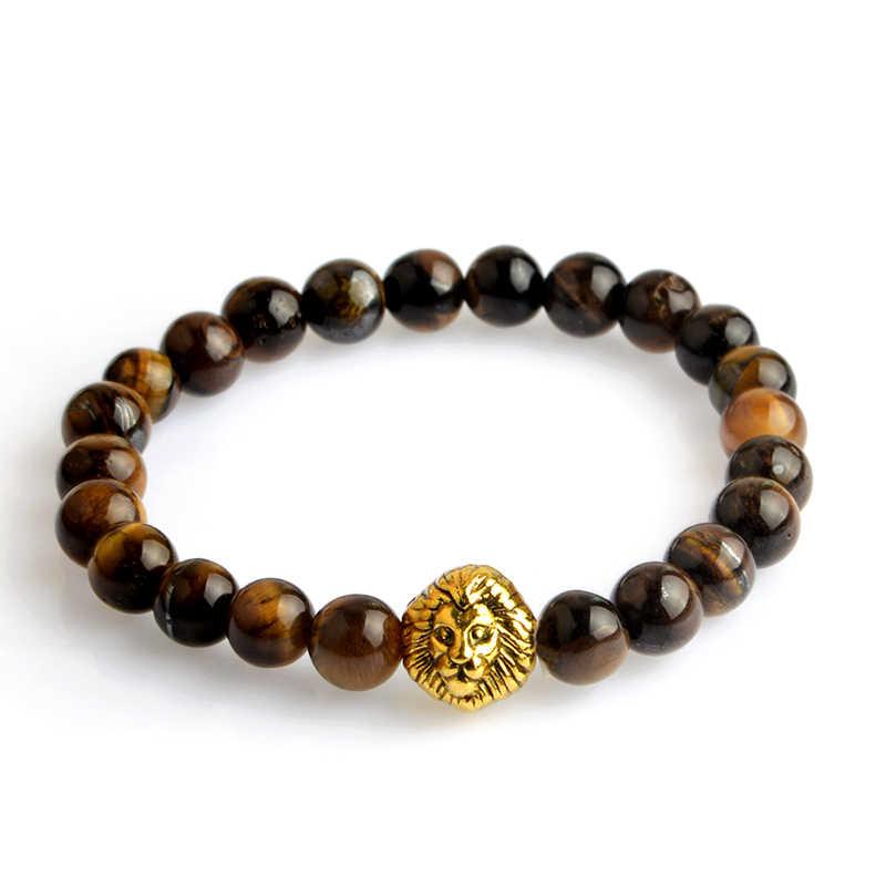 Złoty lew głowy buddy bransoletka z paciorkami dla kobiet mężczyzn Charms lawa kamień tygrysie oko czarny koraliki elastyczna bransoletka bijoux biżuteria joga