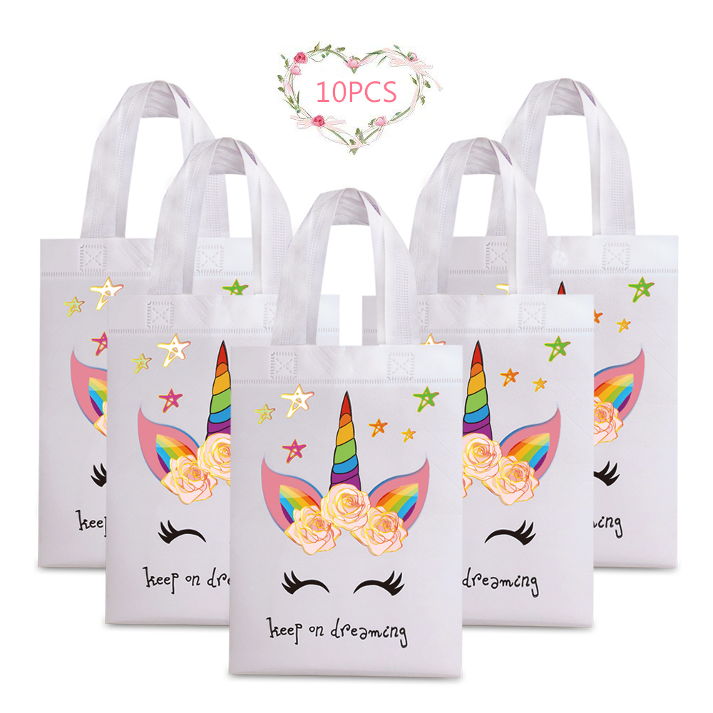 10pcs Waterproof Reusable Shopping Bags Girl Birthday Party Supplies Tote Bag Unicorn Flower Prints Non-woven Fabric Shopper Bag