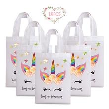 10pcs Waterproof Reusable Shopping Bags Girl Birthday Party Supplies Tote Bag Unicorn Flower Prints Non-woven Fabric Shopper