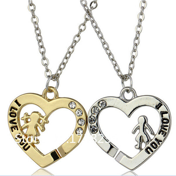 Online shop male female i love you heart pendant necklace image mozeypictures Images