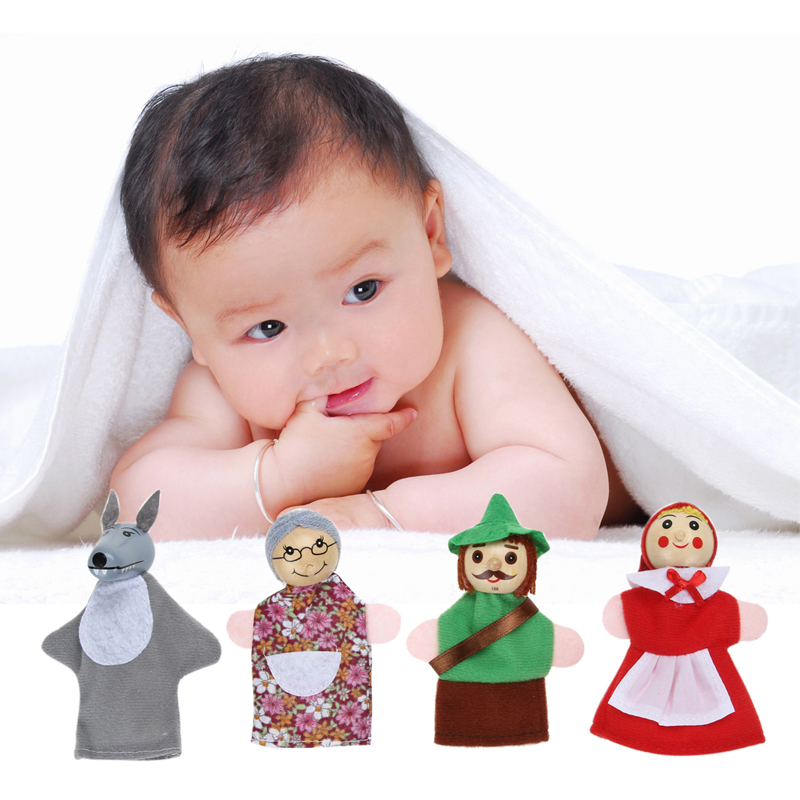 4pcsLot-Kids-Toys-Finger-Puppets-Doll-Plush-Toys-Little-Red-Riding-Hood-Wooden-Headed-Fairy-Tale-Story-Telling-Hand-Puppets-1