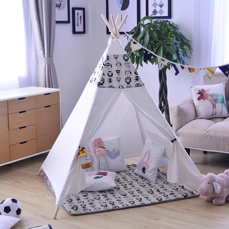Black Owl Patchwork Childrens Tipi Indian Tent rubin childrens friendships cloth