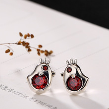 Silver S925 Sterling Antique Bird Inlaid Lady Fashion Nail Earrings Wholesale Agent