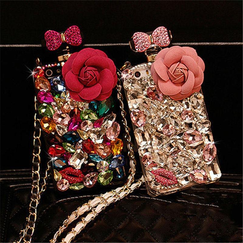 Para o iphone 6 6 s 7 8 Plus X Luxo Bling Diamante Bow Bowknot Cristal Rhinestone Flor De Telefone Frasco de Perfume tampa Traseira Do caso DIY