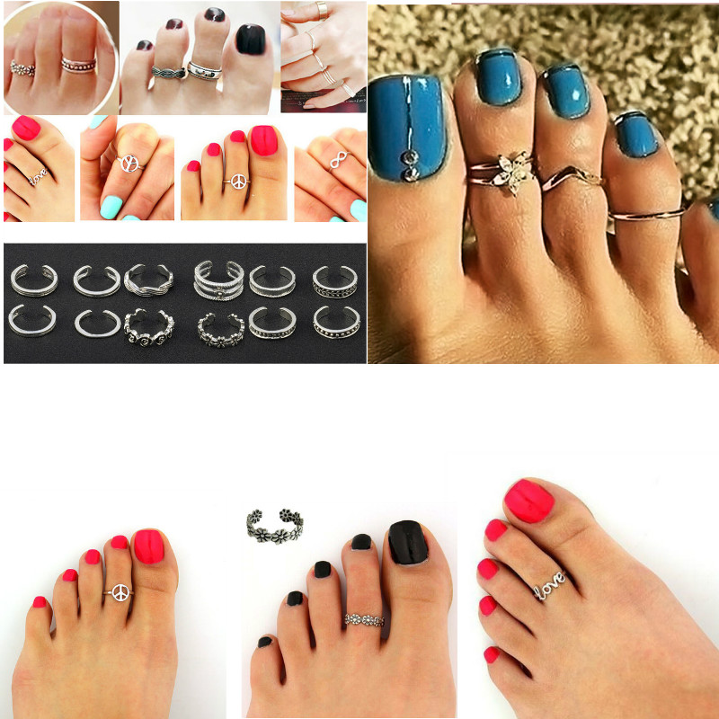 Velishy One 12pcs Adjustable Knuckle Foot Boho Women