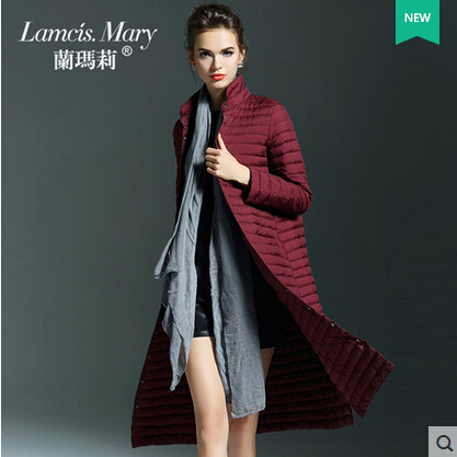 2015 new Hot winter Thin Warm Woman Down jacket Coat Parkas Outerwear Slim Luxury long plus size L Red wine 90% White duck down
