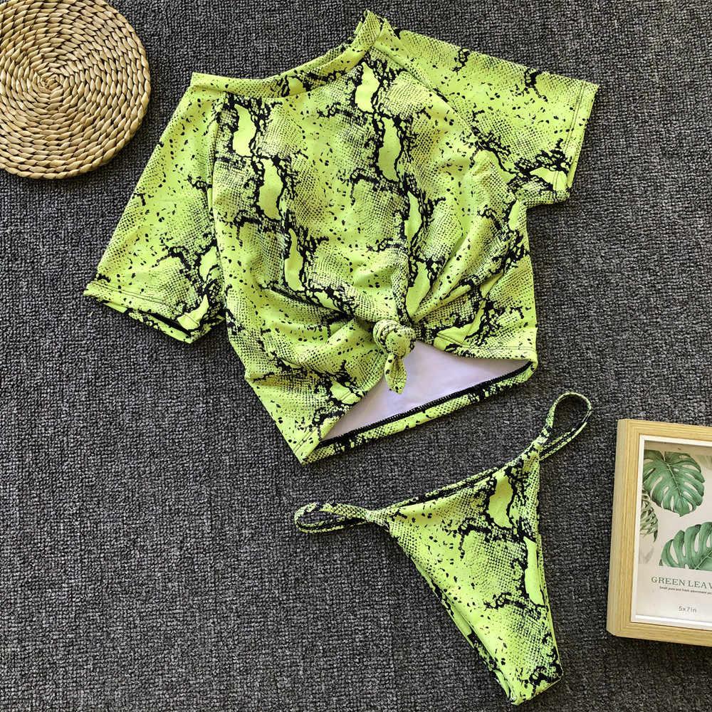 Bikinis femme 2019 maillot de bain brésilien femmes Sport maillot de bain Micro Bikini maillot de bain T-shirt Sexy baigneurs string Bikini Push Up