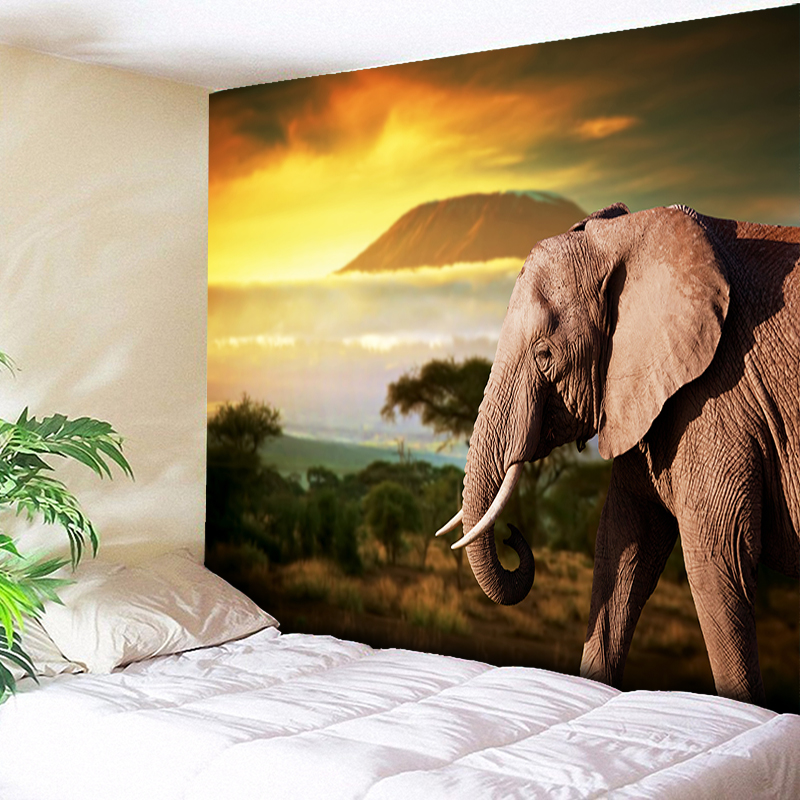 Indian Elephant Tapestry Wall Hanging Sunrise and Sunset Nature Animals Decorative Tapestries Bohemian Sleeping