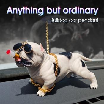 Auto Dekoration Hund Ornamente Harz Bully Hund Puppe Auto Innen Zubehör Nette Lebendige Modell Hund in die Auto