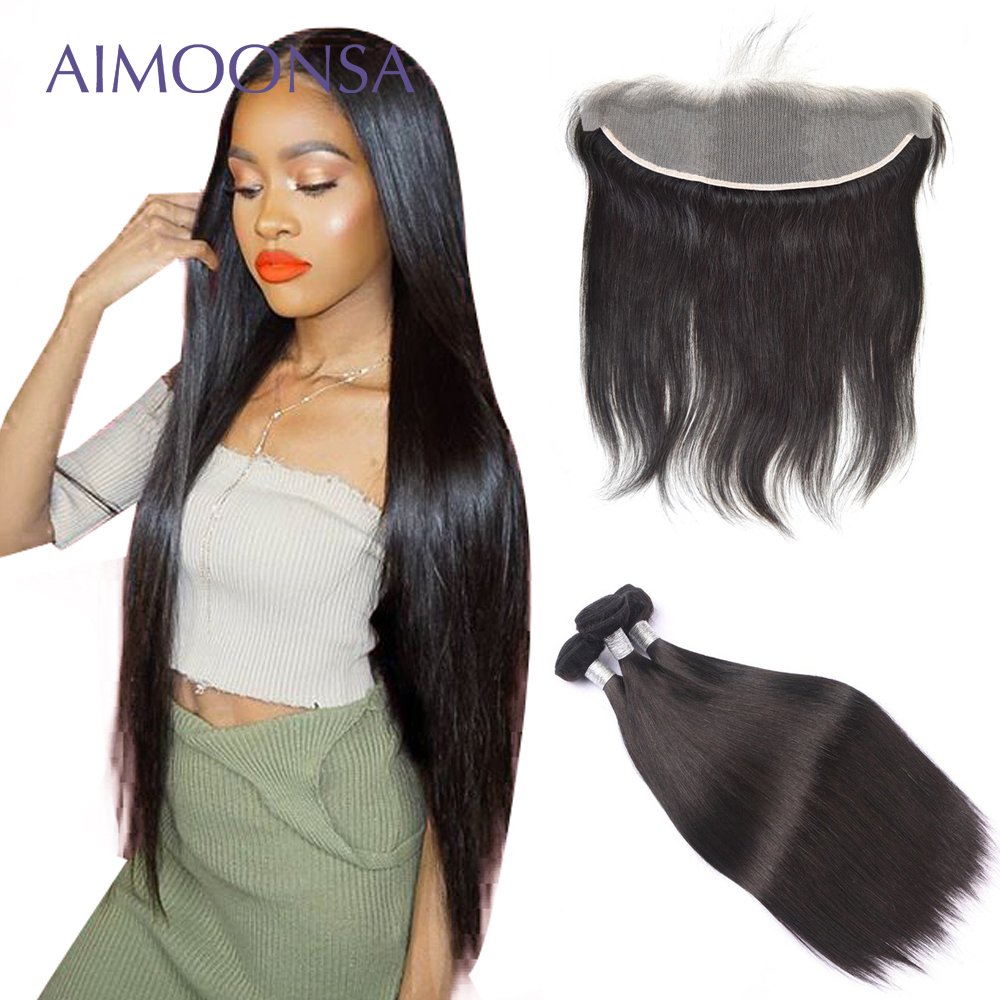 HD Lace Closure Peruvian Straight Transparent Lace Frontal Bundles With Closure 3 Pieces Human Hair Bundles