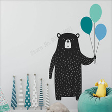 Wall Art Sticker Cute Bear and Balloons Room Decor Kids Bedroom Poster Modern Nursery Decoration Multicolored Mural LY471