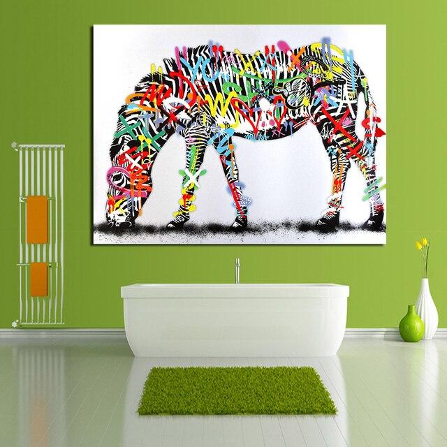 JQHYART cebra colorida decoración casera moderna pintura al óleo ...