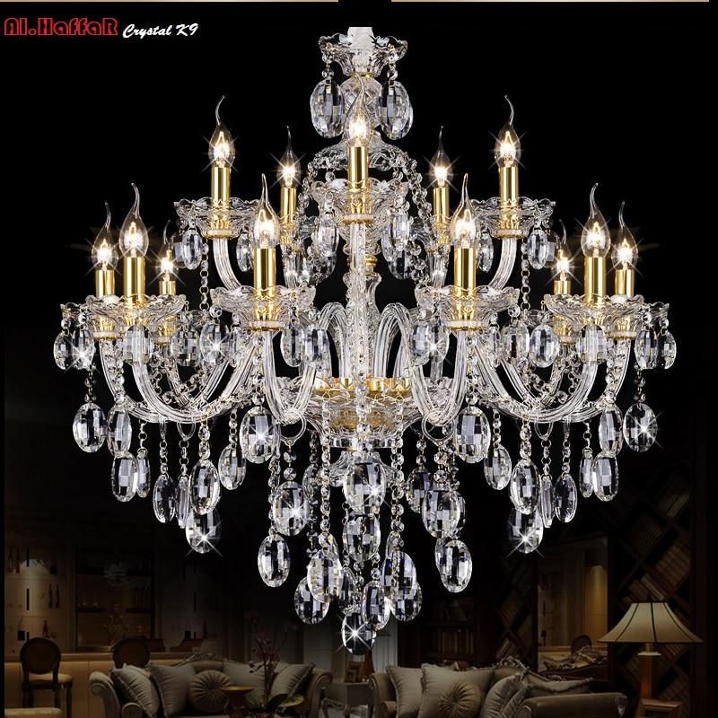 Lekki żyrandol Nowoczesny kryształ Duże żyrandole Luksusowe Nowoczesny żyrandol Oświetlenie mody Luksusowe złoto przeźroczyste K9 Crystal