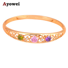Gifts for Christmas Luxury Bangles  gold tone Wholesale & Retail Color Crystal fashion jewelry Wedding Bangles TB827A