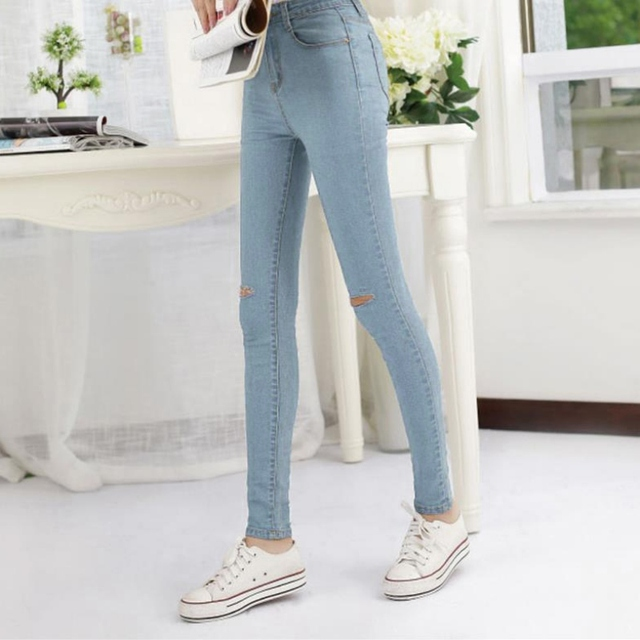 DesignerJeans Womens Fashion Female Denim Hollow Out Strech Blue Black Skinny High Waist Denim Pencil Pants Plus Size