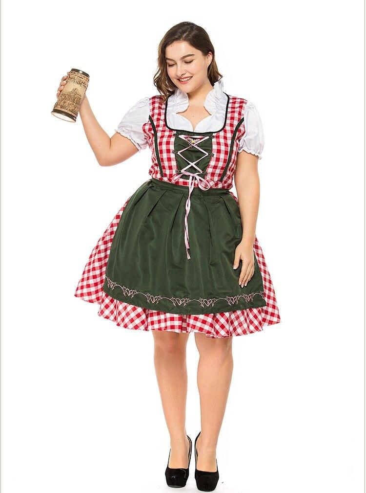 2pcSet Traditional Dirndl German Bavarian Beer Girl Costume Oktoberfest Festival Fancy Dress (3)