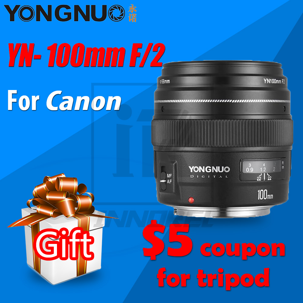 YONGNUO YN100mm F2 AF/MF Medium Telephoto Lens for Canon EOS DSLR camera 100mm Fixed Focal EF mounting port 600D 60D 80D 6D 5D3 canon eos 6d 20 2mp full frame dslr camera body ef 24 105mm f4 l is lens kit