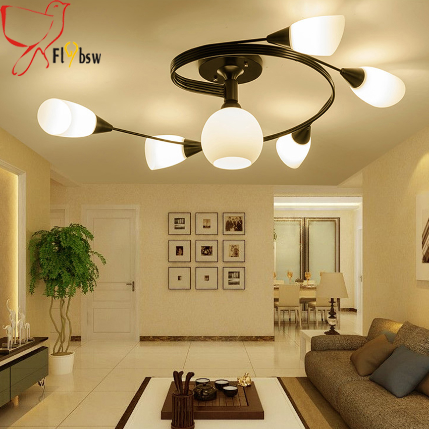 Us 128 8 Off Nordic Country Living Room Ceiling Light Modern Simple 4 6 Creative Iron Rotary Flower Bedroom Restaurant Led Lamp In