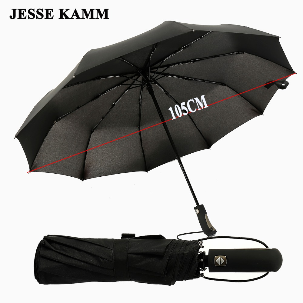 JESSE KAMM 2017 New Big Strong Fashion Windproof Men Gentle Folding Compact Fully Automatic Rain High Quality Pongee Umbrellas